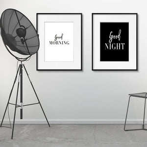 Good Morning Good Night Black White Minimalist Quotation Wall Art Simple Word Art Fine Art Canvas Prints Pictures For Nordic Style Bedroom Home Decor