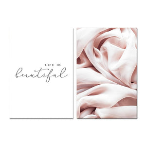 Life Is Beautiful Pink Abstract Wall Art Nordic Minimalist Quotation Fine Art Canvas Prints Modern Pictures For Living Room Bedroom Decor