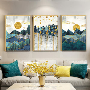 Abstract Mountain Landscape Blue Jade Green Golden Contemporary Wall Art Posters Fine Art Canvas Prints Nordic Pictures For Modern Home Decor