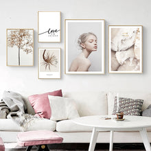 Load image into Gallery viewer, Beautiful Minimalist Nordic Wall Art Gallery Floral Crystal Simple Love Quotation Fine Art Canvas Prints Scandinavian Style Modern Interior Decor