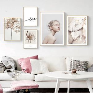 Beautiful Minimalist Nordic Wall Art Gallery Floral Crystal Simple Love Quotation Fine Art Canvas Prints Scandinavian Style Modern Interior Decor