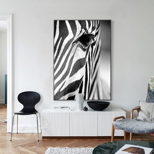 Stunning Zebra Wall Art Black And White Fine Art Canvas Giclee Print Nordic Style Pictures For Living Room Dining Room Modern Interior Decor