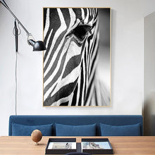 Load image into Gallery viewer, Stunning Zebra Wall Art Black And White Fine Art Canvas Giclee Print Nordic Style Pictures For Living Room Dining Room Modern Interior Decor