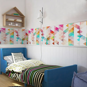 Colorful Nordic Geometry Wall Mural Self Adhesive PVC Wallpaper Roll Peel & Stick Covering For Furniture Cabinets Surfaces Creative DIY For Modern Home Decor