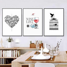 Load image into Gallery viewer, Modern Minimalist Nordic Kitchen Wall Art Posters Love Heart Wine List Sketch Prints Canvas Paintings For Kitchen Cafe Dining Room Decor