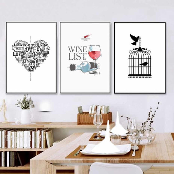 Modern Minimalist Nordic Kitchen Wall Art Posters Love Heart Wine List Sketch Prints Canvas Paintings For Kitchen Cafe Dining Room Decor