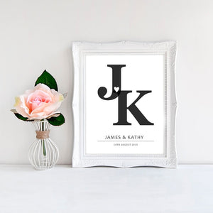 Personalized Initials Love Wall Art Black & White Fine Art Canvas Prints Customized With Your Names And Initials Perfect For Couples Weddings Celebrations Gifts etc
