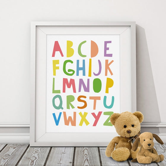 Cute ABC Wall Art Colorful Alphabet Poster Nordic Nursery Pictures Fine Art Canvas Prints For Children's Room Kids Room Baby Bedroom Decor