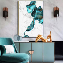 Load image into Gallery viewer, Colorful Gold and Jade Paint Splash on Marble Background Abstract Art Posters Fine Art Canvas Prints Modern Nordic Living Room Paintings