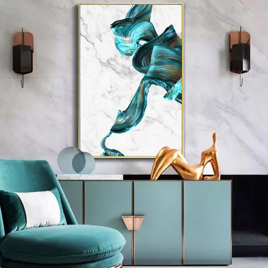Colorful Gold and Jade Paint Splash on Marble Background Abstract Art Posters Fine Art Canvas Prints Modern Nordic Living Room Paintings