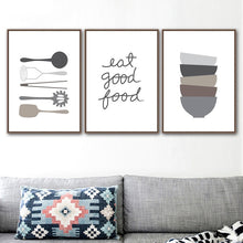 Load image into Gallery viewer, Eat Good Food Kitchen Cookery Quote Wall Art Culinary Cooking Utensils Fine Art Canvas Prints Posters For Kitchen Restaurant Cafe Decor