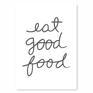 Eat Good Food Kitchen Cookery Quote Wall Art Culinary Cooking Utensils Fine Art Canvas Prints Posters For Kitchen Restaurant Cafe Decor