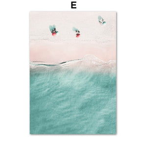 Pink Tropical Surf Camper Van Wall Art Palm Trees Cactus Posters Fine Art Canvas Prints Pictures For Living Room Bedroom Wall Decor