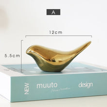 Load image into Gallery viewer, Delightful Golden Bird Sculptures Ceramic Ornaments For Coffee Table Windowsill Mantelpiece Accessories Nordic Home Decoration
