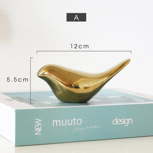 Delightful Golden Bird Sculptures Ceramic Ornaments For Coffee Table Windowsill Mantelpiece Accessories Nordic Home Decoration