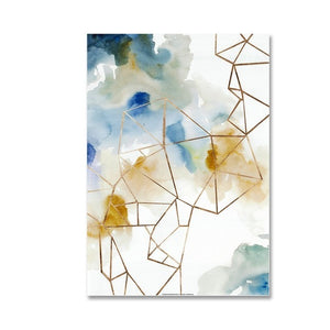 Modern Abstract Watercolor Paintings Fine Art Geometric Design Canvas Prints Nordic Design Posters For Office and Living Room Modern Apartment