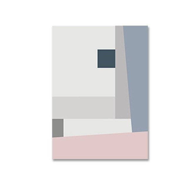 Abstract Squares Geometric Posters Pink Blue Grey Modern Nordic Fine Art Canvas Prints Paintings For Bedroom Living Room Modern Home Decor