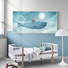 Load image into Gallery viewer, Delightful Big Blue Whale In The Sky Abstract Watercolor Canvas Print Wall Art Poster For Kids Room Nursery Art For Modern Home Decoration