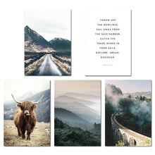 Load image into Gallery viewer, Explore. Dream. Discover. Northern Landscape Wilderness Nature Fine Art Canvas Prints Nordic Style Modern Home Interior Wall Decor