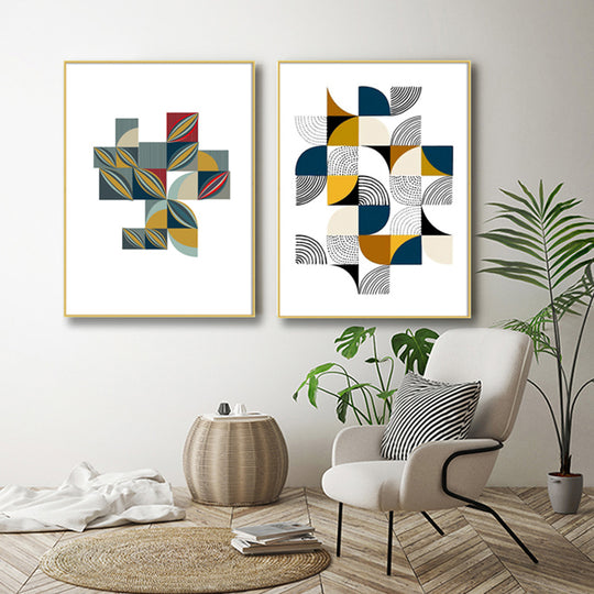 Nordic Abstract Squared Curves Colorful Geometric Design Contemporary Art Posters Fine Art Canvas Prints For Living Room Modern Interior Decor