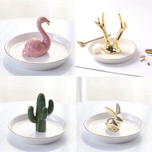 Load image into Gallery viewer, Nordic Style Porcelain Ceramic Plates Miniature Flamingo Pineapple Cactus Rabbit Deer Eiffel Tower Elephant Baby Jewelry Tray Decorative Ornaments