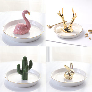 Nordic Style Porcelain Ceramic Plates Miniature Flamingo Pineapple Cactus Rabbit Deer Eiffel Tower Elephant Baby Jewelry Tray Decorative Ornaments