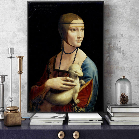 Famous Painting The Lady with an Ermine Leonardo da Vinci Classic High Renaissance Oil Painting Fine Art Canvas Print for Dining Room Decor