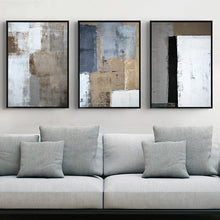 Load image into Gallery viewer, Rustic Vintage Abstract Wall Art Decor Bold Blue Black Bronze Pictures Fine Art Canvas Prints For Modern Office Interiors Home Living Room Decor