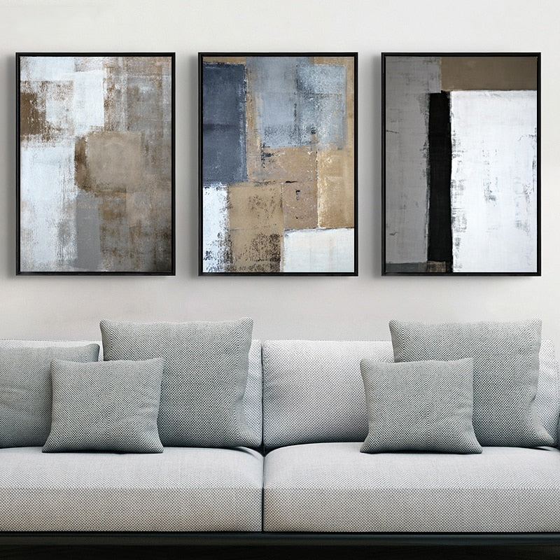 Living Room Art Decor.Rustic Vintage Abstract Wall Art Decor Bold Blue Black Bronze Pictures Fine Art Canvas Prints For Modern Office Interiors Home Living Room Decor