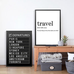 Airline Departures Board Wall Art Poster Airport Travel Destinations Black White Fine Art Canvas Prints Modern Art Decor For Home Office Interior Design