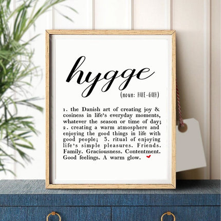 Definition of Hygge Danish Lifestyle Nordic Style Wall Art Fine Art Canvas Prints Minimalist Black White Typographic Poster Scandinavian Home Decor