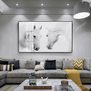 Beautiful White Horse Posters Modern Stylish Black White Nordic Canvas Prints Pictures For Modern Home Living Room Paintings Bedroom Decor