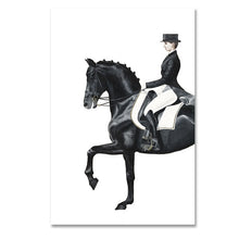 Load image into Gallery viewer, Very Elegant Equestrian Wall Art Luxurious Dressage Paintings Horse And Rider Figure Art Fine Art Canvas Prints For Modern Living Room Decor