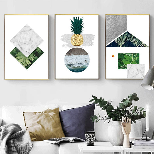 Abstract Nordic Geometric Wall Art Pineapple Poster Marble Sea And Palms Fine Art Canvas Prints Paintings For Modern Kitchen Living Room Decor