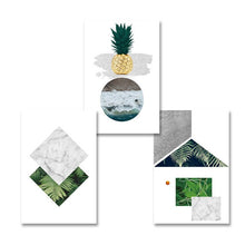 Load image into Gallery viewer, Abstract Nordic Geometric Wall Art Pineapple Poster Marble Sea And Palms Fine Art Canvas Prints Paintings For Modern Kitchen Living Room Decor