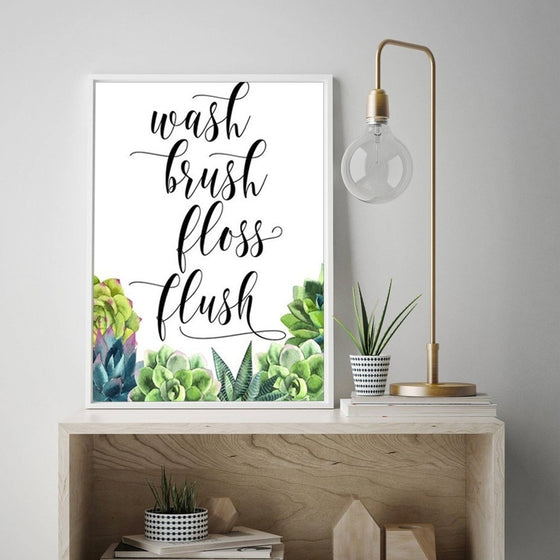 Wash Brush Floss Flush Modern Nordic Bathroom Art Posters Simple Cactus Decor Quotation Canvas Prints For Modern Home Interior Decor