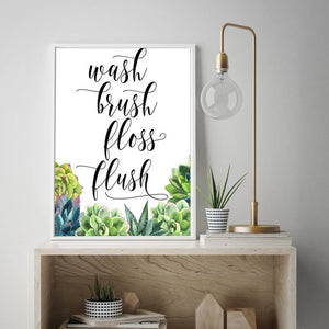 Wash Brush Floss Flush Modern Nordic Bathroom Art Posters Simple