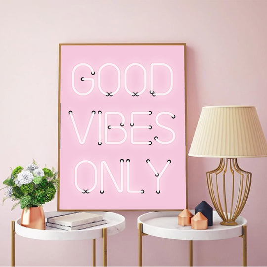 Good Vibes Only Minimalist Quotation Fashion Wall Art Bright Pink Neon Effect Fine Art Canvas Prints Nordic Style Interior Decor For Girls Room