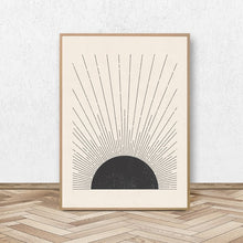 Load image into Gallery viewer, Simple Sun Rays Vintage Block Print Illustration Minimalist Nordic Style Neutral Colors Fine Art Canvas Print Black White Modern Home Decor