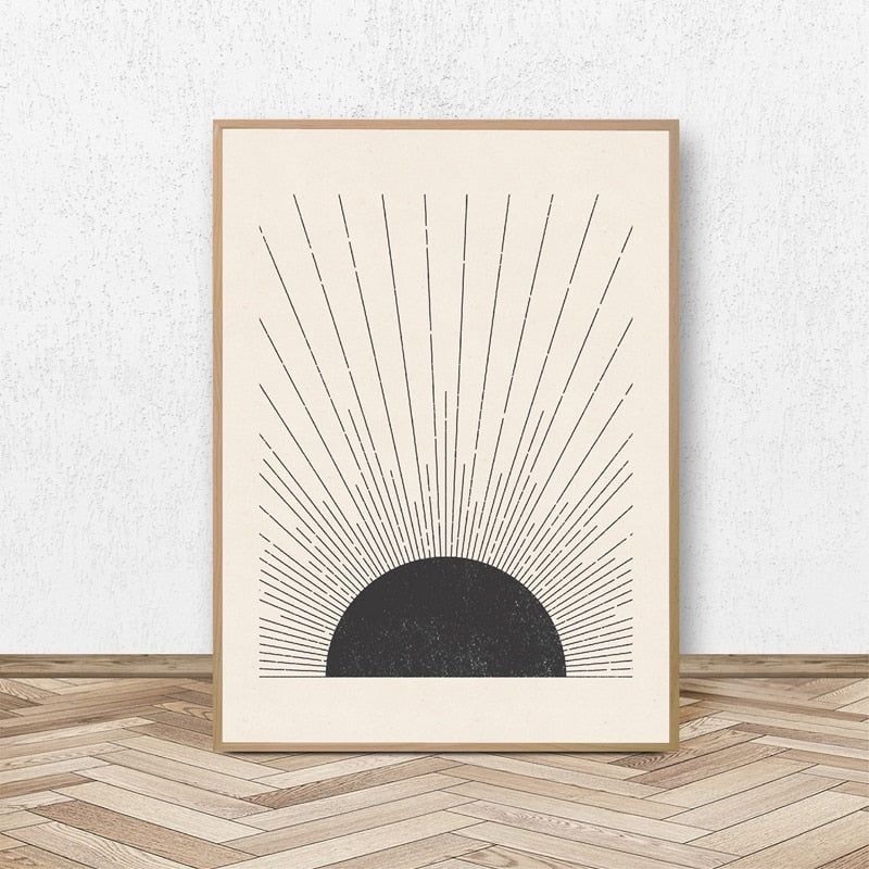 Simple Sun Rays Vintage Block Print Illustration Minimalist Nordic Style Neutral Colors Fine Art Canvas Print Black White Modern Home Decor