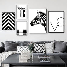 Load image into Gallery viewer, Abstract Nordic Minimalist Black and White Art Posters Geometric Stripes Zebra Chevrons Inspiring Quotations Modern Wall Art Interior Decoration