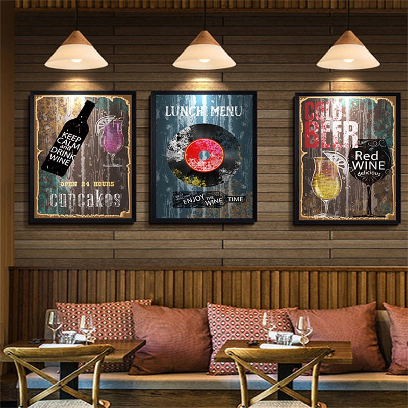 Rustic Restaurant Lunch Menu Poster Cafe Kitchen Wall Art Beer Cupcakes  Wine Fine Art Nordic Canvas Prints For Modern Kitchen Cafe Wall Decor