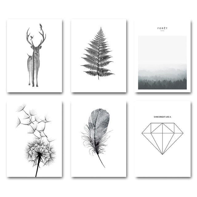 Simple Minimalist Black & White Scandinavian Gallery Wall Art Fine Art Canvas Prints Nordic Style Posters For Living Room Modern Home Decor