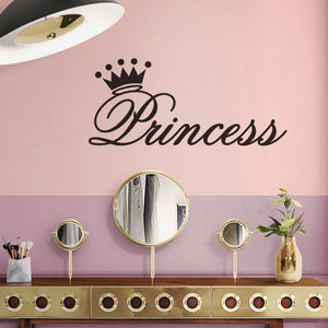 Princess Word Art Wall Mural With Crown Removable PVC DIY Wall Decal For Girls Room Little Princess Bedroom Decor Nordic Style Design