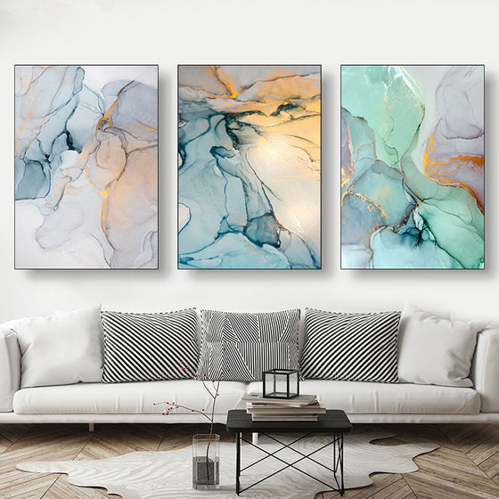 Modern Colorful Marble Abstract Wall Art Contemporary Nordic Style Fine Art Canvas Prints For Chic Bedroom Living Room Glam Decor
