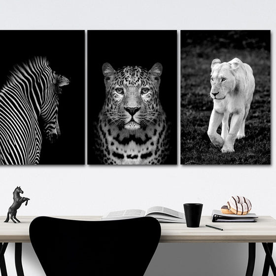 Wild Animals Stylish Black & White Photographic Wall Art Lion Leopard Zebra Fine Art Canvas Prints Pictures For Modern Interior Home Decor
