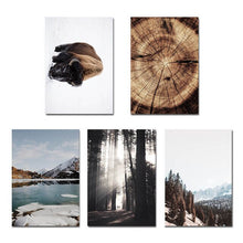 Load image into Gallery viewer, Forest Mountain Winter Wilderness Landscape Wall Art Far North Icy Lake Bison Log Cabin Travel Dreams Scandinavian Style Fine Art Canvas Prints