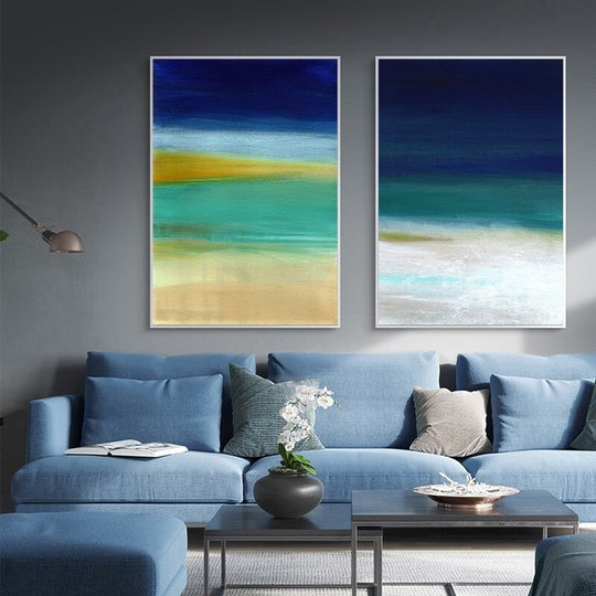 Vintage Abstract Seascape Beach Scene Posters Sea Sand Sky Shore Blue Yellow Wall Art Fine Art Canvas Prints For Modern Home Office Decoration