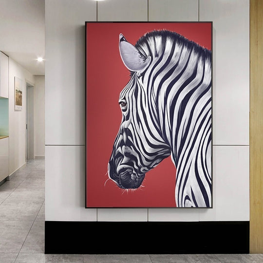 Striking Wild Zebra Poster Black White Red Background Modern Interior Wall Art Canvas Print For Kitchen Bedroom Living Room Home Decor