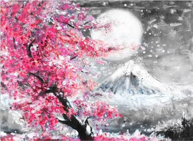 Pink Cherry Blossom Black White Mountain Landscape Abstract Fine Art Canvas  Prints Modern Interiors Wall Art For Kitchen Living Room Decoration